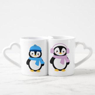 Pinguins personalizados do inverno caneca para namorado