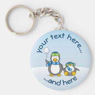 Pinguins Snowballing Chaveiro
