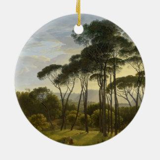 Pinhos de guarda-chuva italianos da paisagem por ornamento de cerâmica redondo
