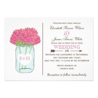 Pink flowers in mason jar wedding invitations