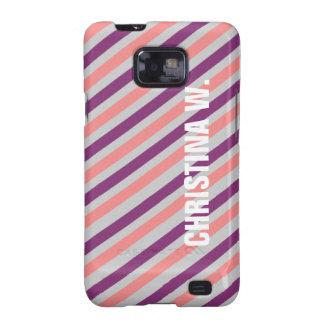 Pink purple stripe pattern custom name personal samsung galaxy s2 covers