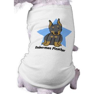 Pinscher do Doberman da estrela de Kawaii Camisetas Para Caes