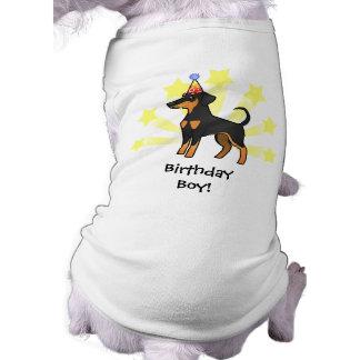 Pinscher do Doberman do aniversário (orelhas Camisa Sem Mangas Para Cachorro
