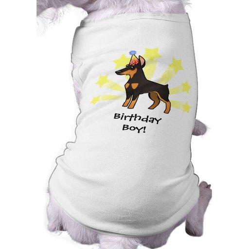 Pinscher do Doberman do aniversário (orelhas point Camiseta Para Cães