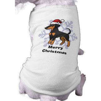 Pinscher do Doberman do Natal (orelhas flexíveis) Camisa Sem Mangas Para Cachorro