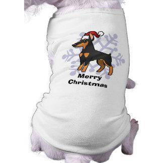 Pinscher do Doberman do Natal (orelhas pointy) Camisa Sem Mangas Para Cachorro