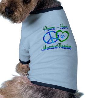 Pinschers do amor da paz mini camisetas para cães