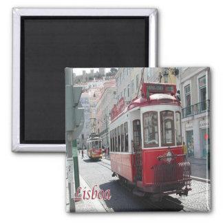 Pinta - Portugal - Lisboa - eléctrico do bonde Ímã Quadrado