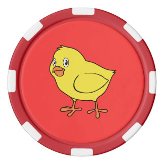 Pintinho amarelo feliz bonito fichas de poquer