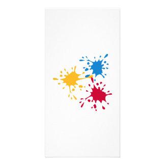 Pintor colorido do respingo cartão com foto