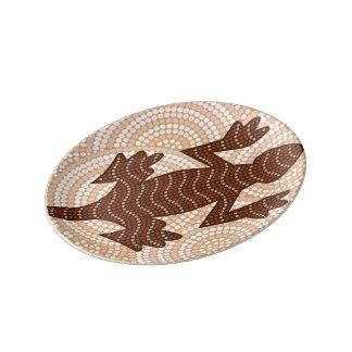 Pintura aborígene do ponto do lagarto pratos de porcelana
