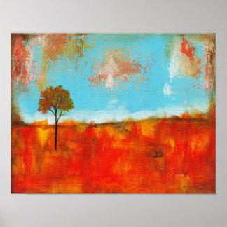 Pintura abstrata da arte da árvore da paisagem do poster