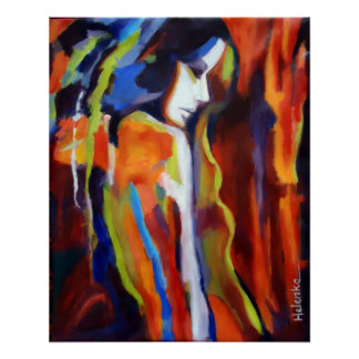 Pintura abstrata da figura fêmea - impressões da