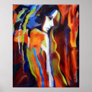 Pintura abstrata da figura fêmea - impressões da poster