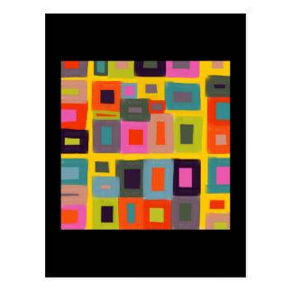 Pintura abstrata dos quadrados mágicos do cartão