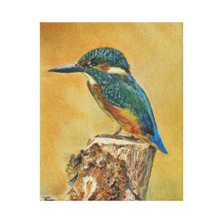 Pintura azul bonita do martinho pescatore impressão em tela