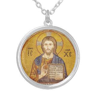 Pintura bizantina do Jesus Cristo Colar Banhado A Prata