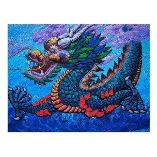 Pintura colorida do dragão do óleo chinês oriental cartão postal