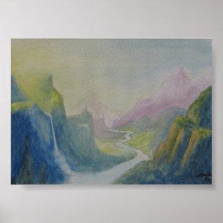 Pintura da aguarela da paisagem poster