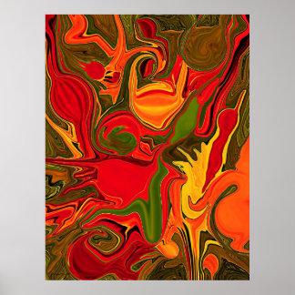 pintura da arte abstracta do fogo pôster