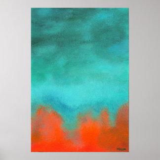 Pintura da arte abstracta, vermelho, laranja, poster