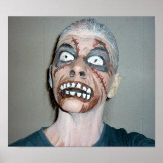 pintura da cara do zombi do poster do zombi pôster