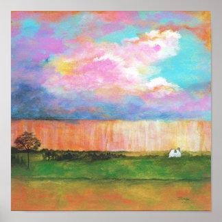 Pintura de casa abstrata da paisagem dos chás de a posteres
