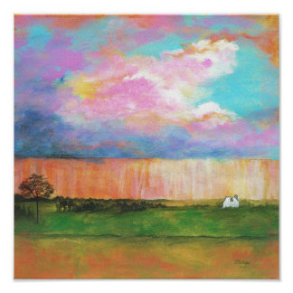 Pintura de casa abstrata da paisagem dos chás de pôster