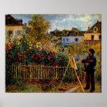 Pintura de Claude Monet - de Monet em seu jardim Impressão
