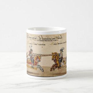 Pintura de livro medieval duelo de cavaleiro velhi caneca
