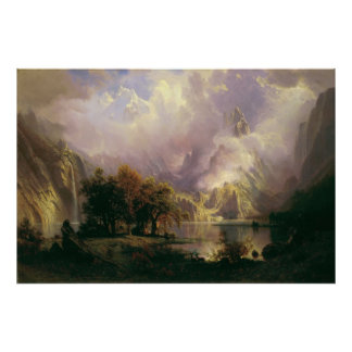 Pintura de paisagem da montanha rochosa de Albert Posters