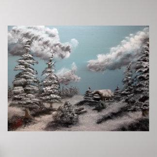 Pintura de paisagem do inverno posters