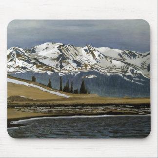 Pintura de paisagem do óleo da mina da nuvem preta mouse pad