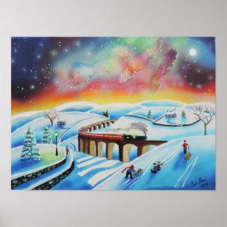 Pintura de paisagem do trem da aurora boreal poster