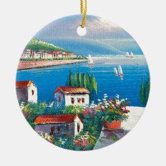 Pintura de uma vila italiana ornamento de cerâmica redondo