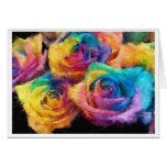 Pintura do cartão dos rosas do arco-íris