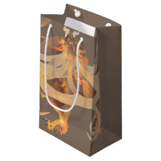Pintura do dragão do fogo sacola para presentes pequena