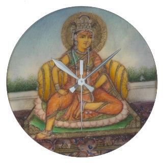 Pintura do Gouache do vintage de Samanya Lakshmi Relógio Grande