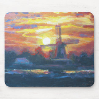 Pintura do moinho de vento do por do sol mouse pad