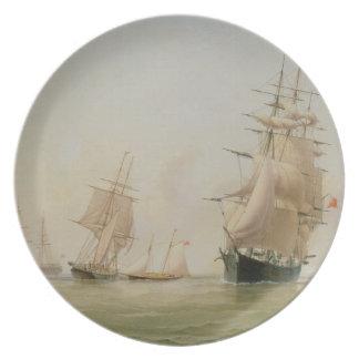 Pintura do navio (óleo em canvas) louça de jantar