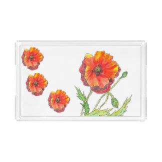 Pintura do primavera da flor da papoila bandeja de acrílico