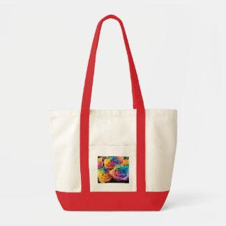 Pintura do saco dos rosas do arco-íris sacola tote impulse