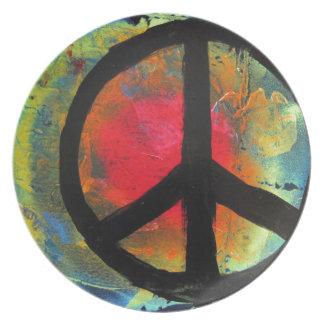 Pintura do sinal de paz do arco-íris da arte da louça de jantar