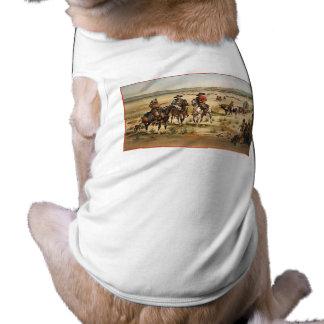 Pintura do vintage do trem de vagão camisa sem mangas para cachorro