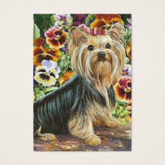 Pintura do yorkshire terrier & dos Pansies Cartão De Visitas