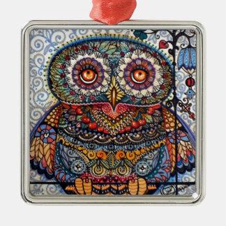 Pintura gráfica mágica da coruja ornamento quadrado cor prata