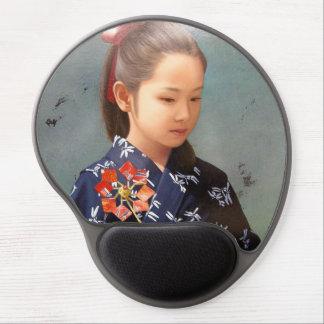 Pintura japonesa bonito pequena do retrato do quim mouse pad em gel