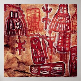Pintura pré-histórica da rocha poster
