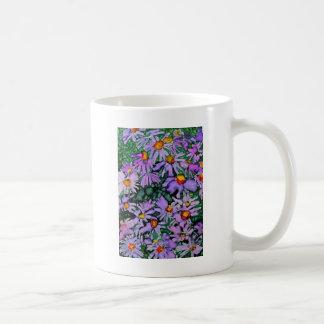 Pintura roxa da arte da flor do áster caneca de café