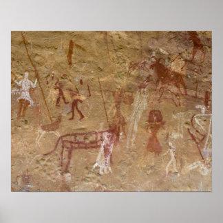 Pinturas pré-históricas da rocha, Akakus, Sahara Poster